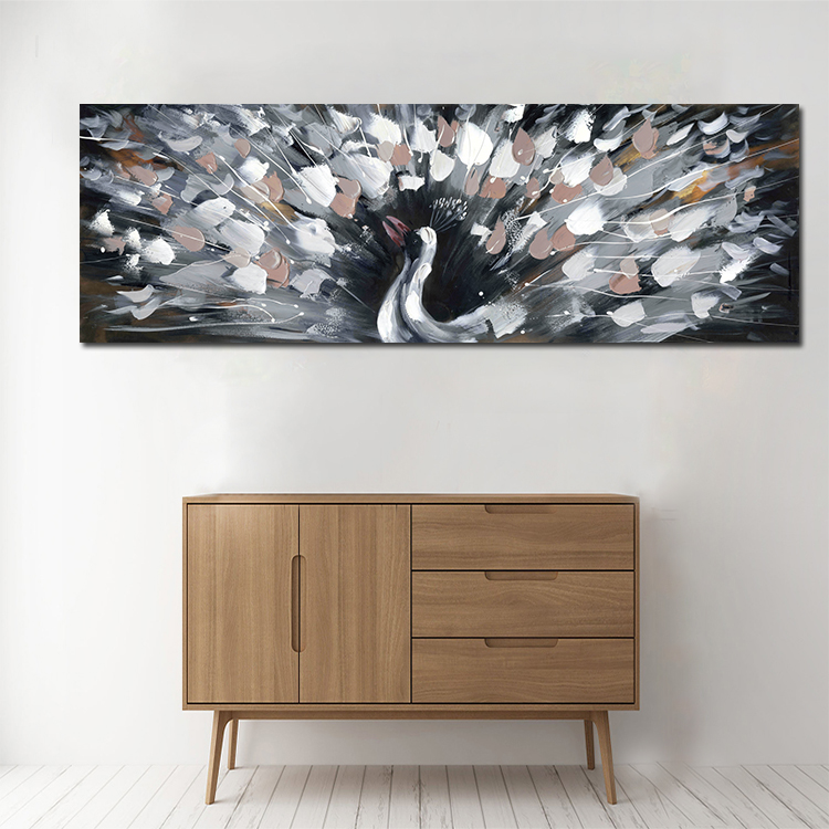 Big size black and white peacock poster print abstract animal Peacock Large Wall Art Peacock Painting Canvas