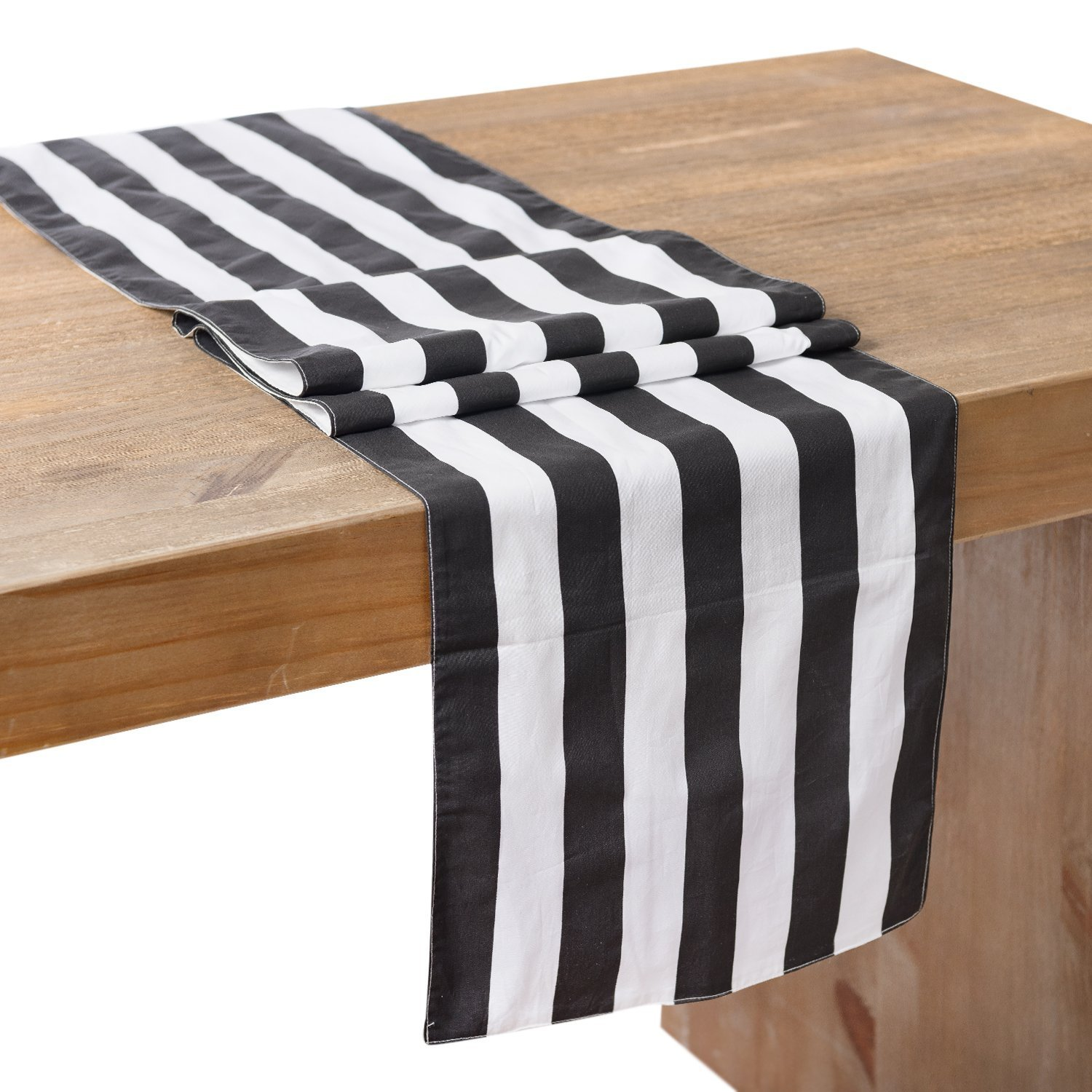 Get Quotations · Lingu0027s Moment Classic 1 Inch Black And White Striped Table  Runner, 12 X 108 Inches