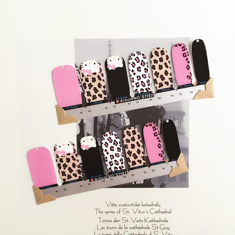 Black Pink Cartoon Cat child Nail Arts Nail Sticker Waterproof Nail Decal Sticker Gel Polish French