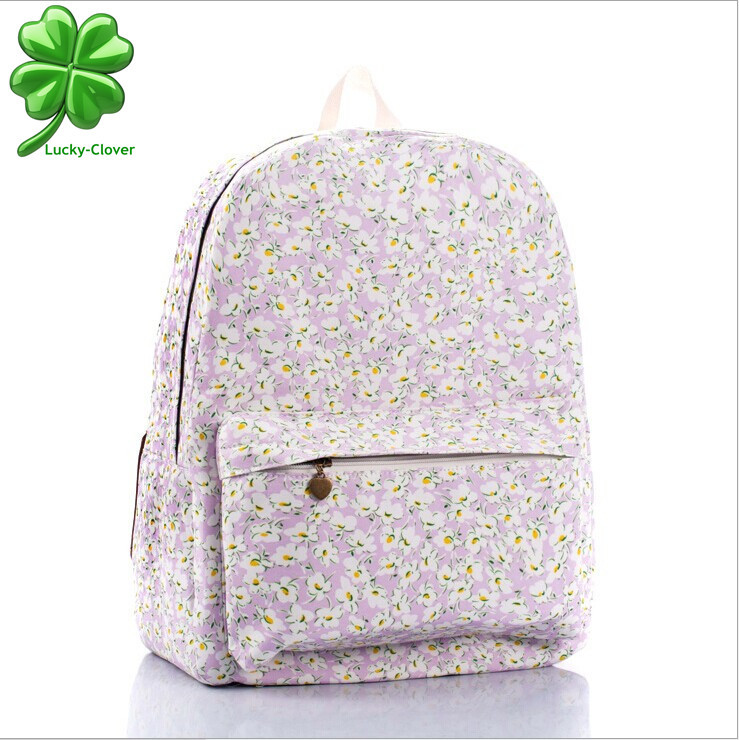 26582cdc7dd0 Buy Fashion Women Purple smaller ditsy Rose Flower printing Backpack school  college bags bookbag Teenagers girls canvas backpacks in Cheap Price on ...
