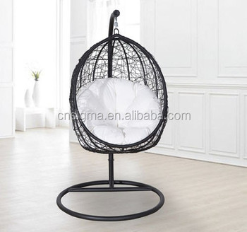 Swing Egg Stoel.Rattan Swing Patio Furniture Garden Hanging Egg Chair W Cushion In
