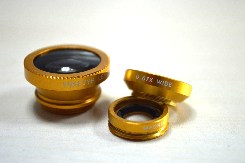 Golden 3 in 1 Clip-On Fish Eye Lens+Wide Angle+Macro Mobile Phone Lens For IPHONE/SAMSUNG/HTC/IPAD/TABLET PC/LAPTOPS ect.