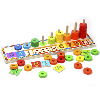 Top bright educational wooden rainbow toy number count box count match numbers baby toy 6540
