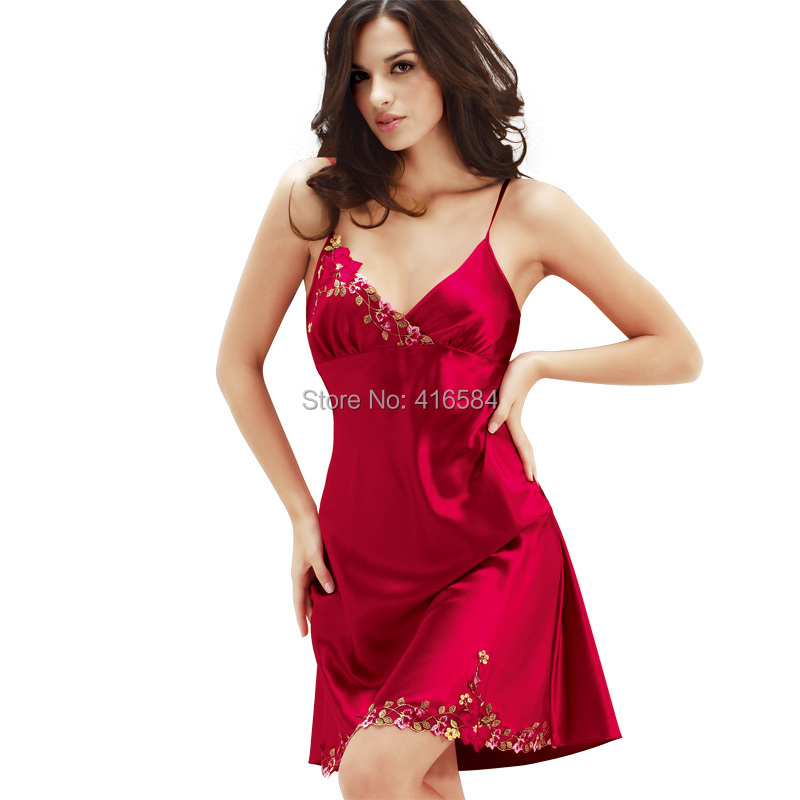 8033cf420e Get Quotations · Womens Satin Slip Silk Sleepwear Summer New Imitate Silk  Slip Sexy Nightgowns Embroidery Silk Nightdress High