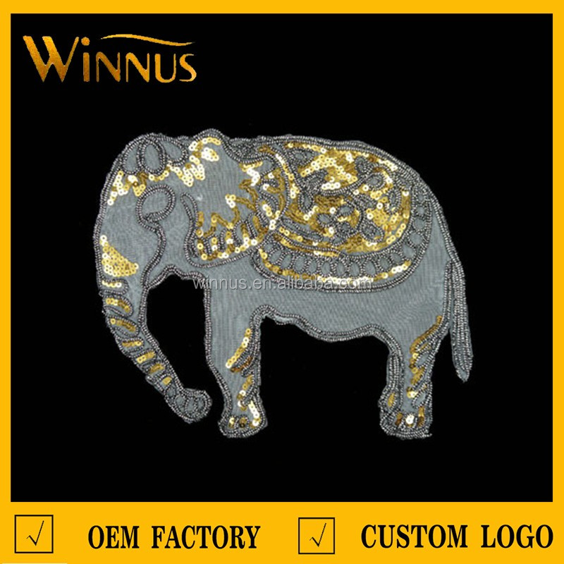 wholesale luxury gold metallic sequin embroidery elephant patch