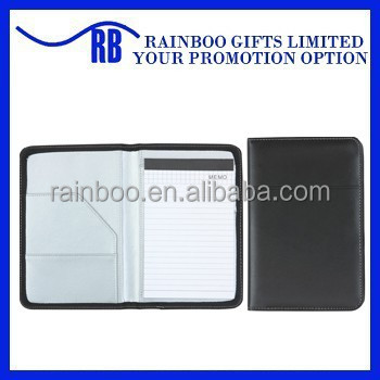 Logo printed top quality pu custom leather cheap portfolio with front pocket