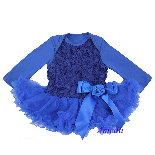 Baby Romantic Royal Blue Rosettes Long Sleeves Bodysuit Pettidress Pettiskirt Party Dress NB-18M