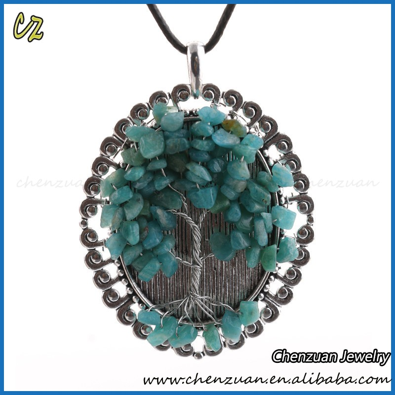 Fashion Copper Jewelry Wire Wrapped Family Tree Pendant Necklace