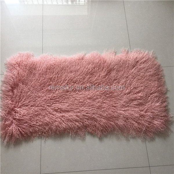 Dyed Colors Mongolia Tibet Lamb skin Fur Plate Colorful Lamb Fur Piece Curly Sheep Wool