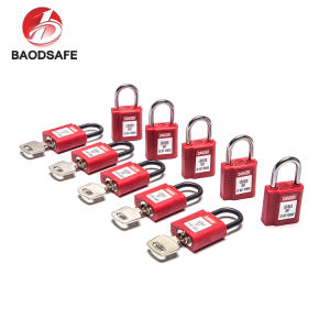 BAODI High Quality Custom 38mm Short Shackle Red Colour Safety Padlock