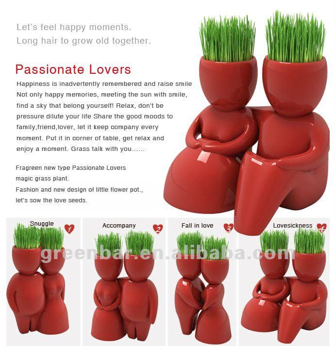 mini keramik porzellan bonsai Gras puppe haare mann pflanze kopf ...
