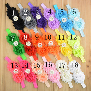 Fashion elastic grosgrain ribbon Baby Hair bands with pearls rhinestone, pearls and diamond ribbon band with Chiffon flower