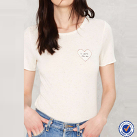 wholesale new arrival customise mixed signals embroidered white rayon women tshirt
