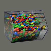 Factory custom pmma plexiglass candy box bin clear acrylic candy food container
