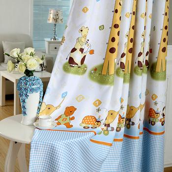 kinderzimmer vorhang stoff wohnzimmer schiere vorhang giraffe tier cartoon vorhang gardinen. Black Bedroom Furniture Sets. Home Design Ideas