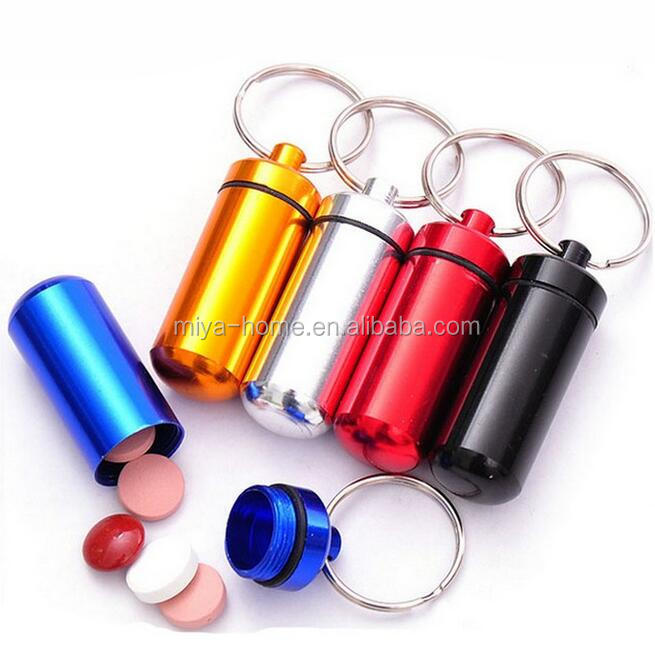 High Quality Portable WaterProof Mini Aluminum Keychain Tablet Storage Box / Pill Case