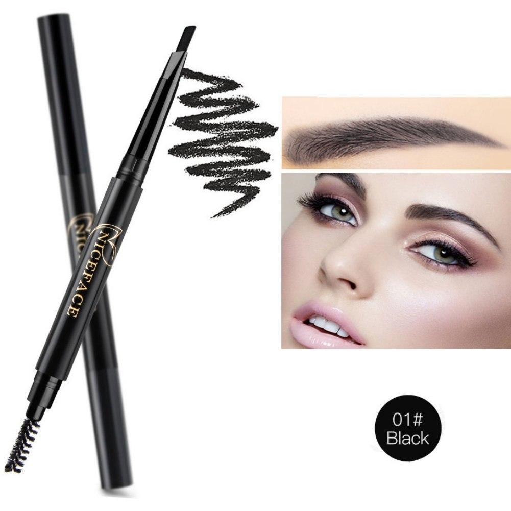 Yiitay 5 Colors Long-lasting Eyebrow Pencil Soft And Smooth Waterproof Eyebrow Pencil Automatic Eyebrow Pencil with Eye Brows Brush Makeup Cosmetic Beauty Tools/#01 Black