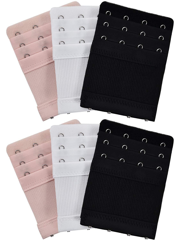 Bememo 6 Pieces Women's Bra Extenders Elastic Stretchy Bra extension Strap, 3 Colors (3 Rows x 4 Hooks)