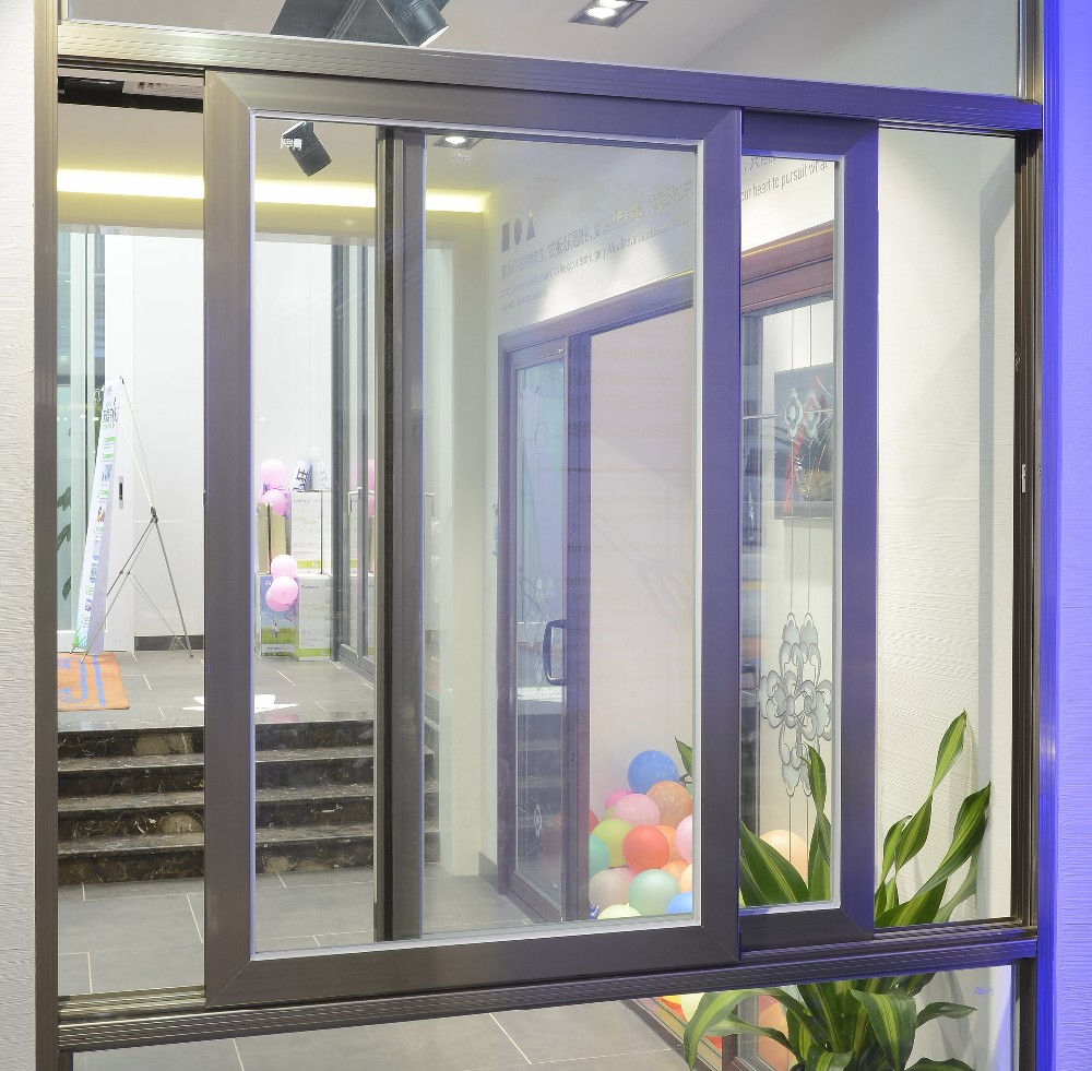 Double Sliding Windows : Foshan fly screen double glazed aluminium sliding windows