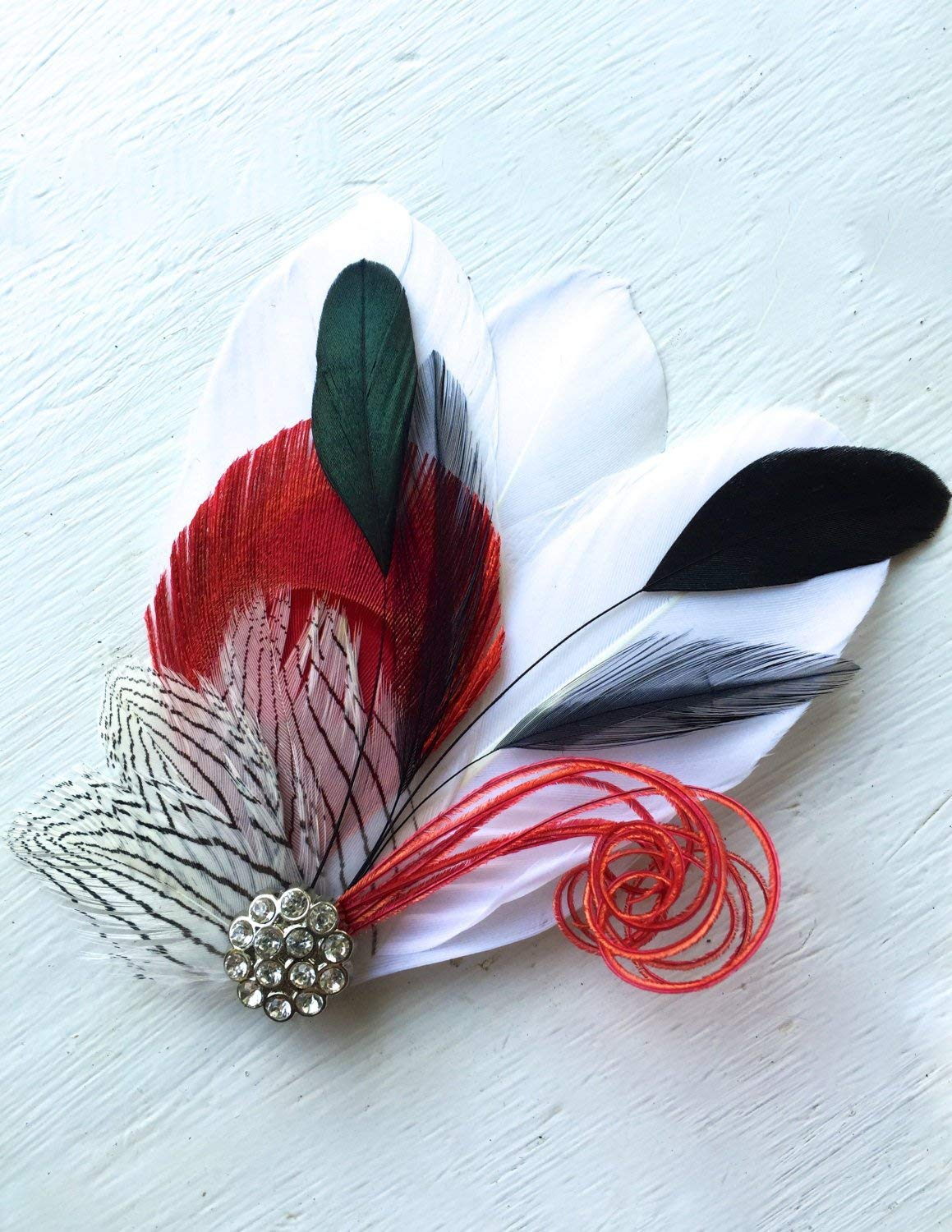 97f423372 Oh Lucy Handmade SIDNEY Feather Fascinator with Crystal and Pearl, Feather  Hair Clip, Bridal Hair Piece in Red with Black and White