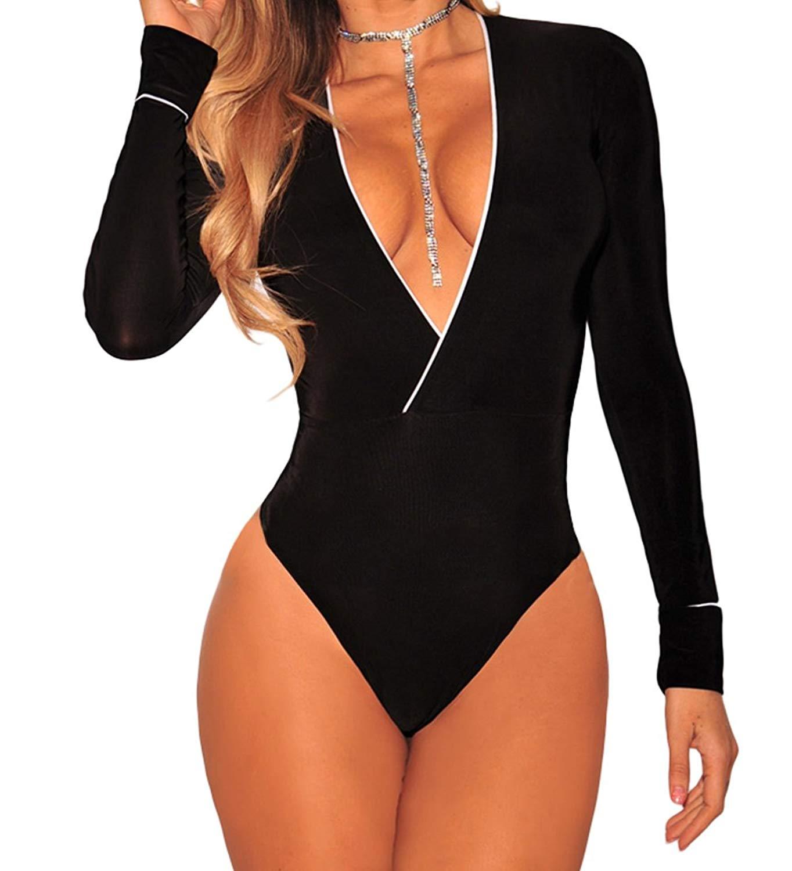 807e0c787e45 Get Quotations · Ytwysj Women Sexy Deep V Neck White Piping Trim Black Faux  Wrap Bodysuit Clubwear Top Cocktail