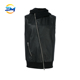 Fashion design inclined full zip up hooded leather biker vest with ribbed bottom