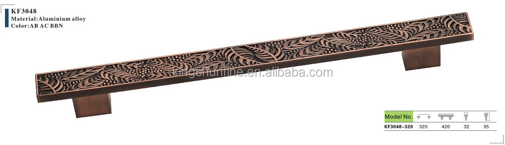 Leaves pattern handle , Antique furniture handle , 320mm handle