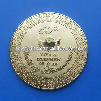 Gold Plated Wedding Favor Heart Gift Coinbt Am Challenge Coin 14124