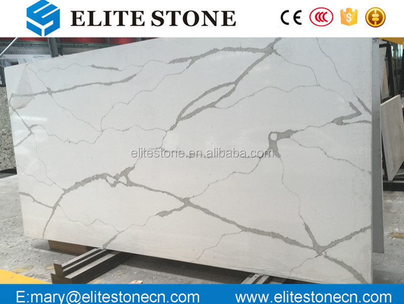 White Calacatta Quartz slabs Artificial Calacatta Gold Quartz Stone