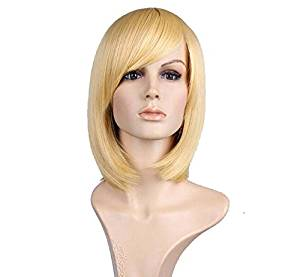 "Allmet Fashion 12"" Short Straight Wig Heat Resistant Flapper Bob Cosplay Wig With Free Wig Cap (Short Straight Gold)"