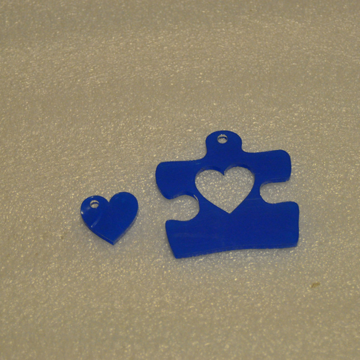 Custom Cute Puzzle Acrylic Perspex Key Chain with cut out heart