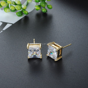 925 sterling silver square Cubic Zirconia Stud Earring for women and men