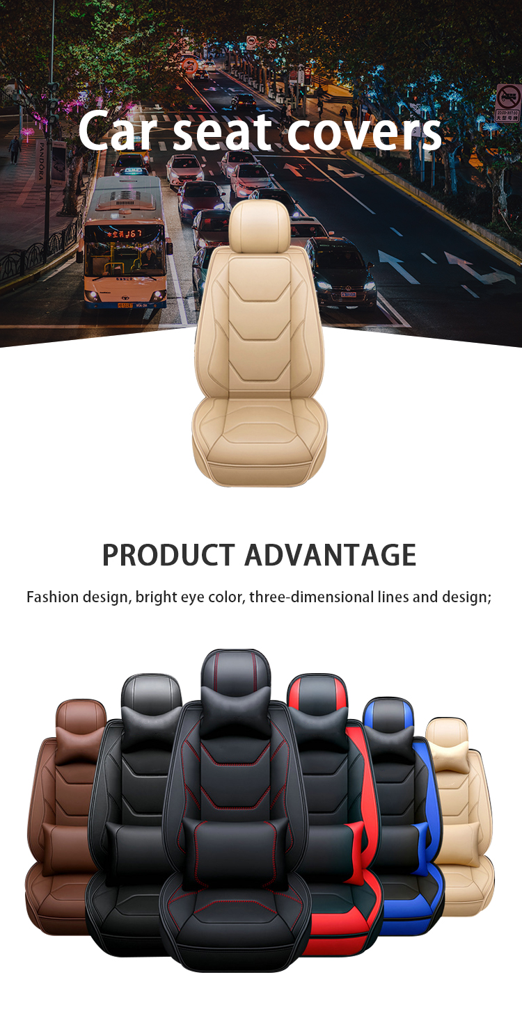 ZT-P-144 Sports cartoon 3d multicolour leather full cover car front back seat covers auto car seats cover airbag