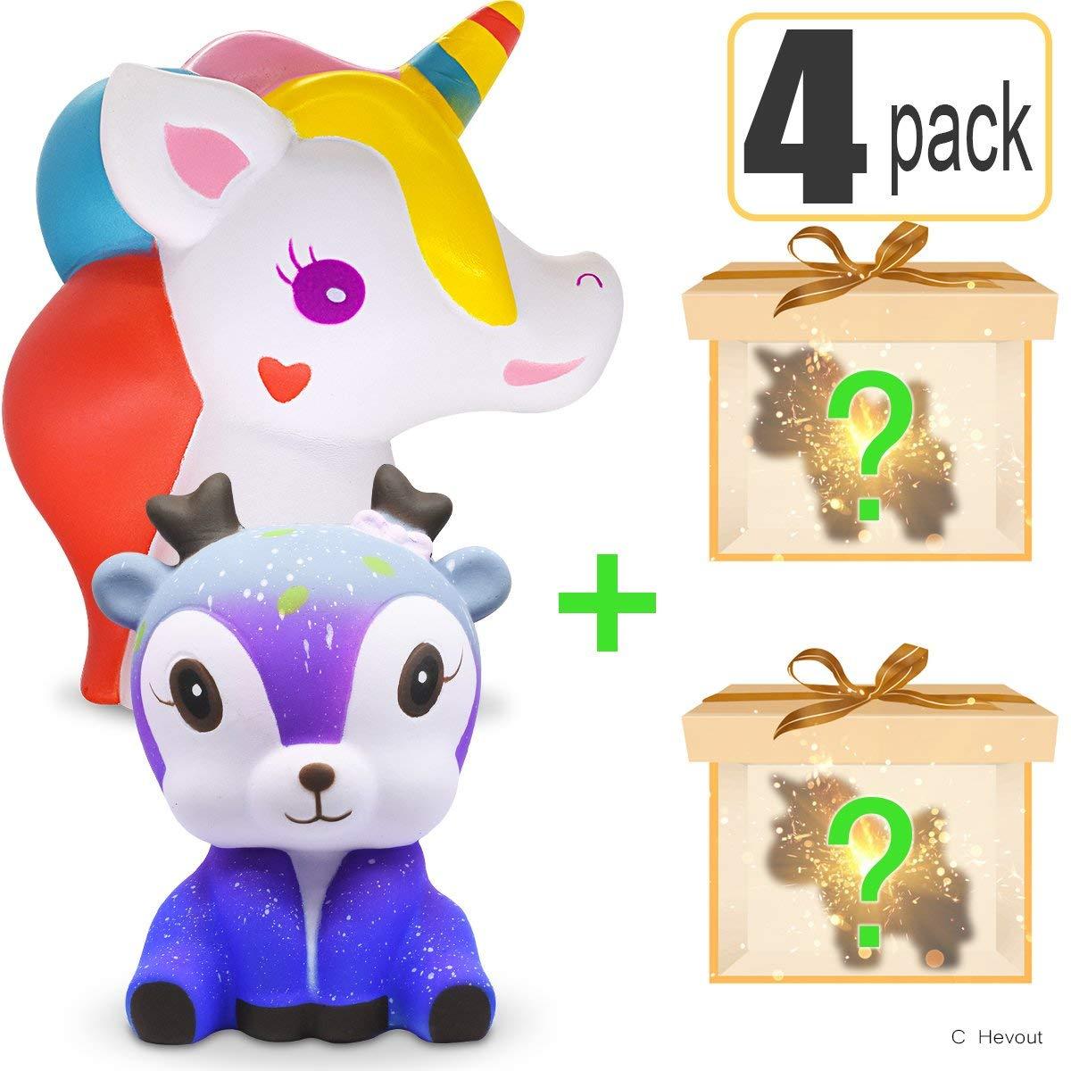 Hevout cheap squshies jumbo slow rising squishy toys prime unicornio galaxy deer cute squishies 4 pcs for girls toys