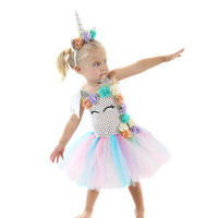 Hot Sale Girls Unicorn Dresses For Kids Cute Unicorn Birthday Party Baby Girl Dresses School Performance Costumes