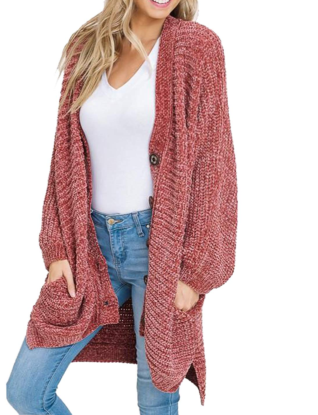 a733e921e7 Get Quotations · YONYWA Plus Size Womens Cardigans Boyfriend Long Cable  Knit Button Cardigan Sweaters with Pockets