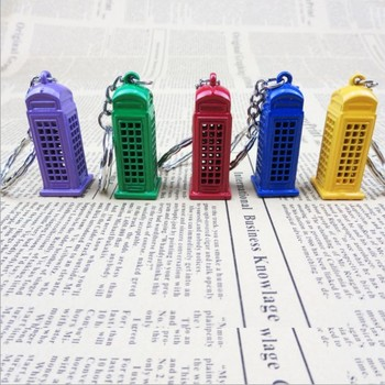 Metal craft British style piggy bank telephone booth keychain for sale promotion 1805415