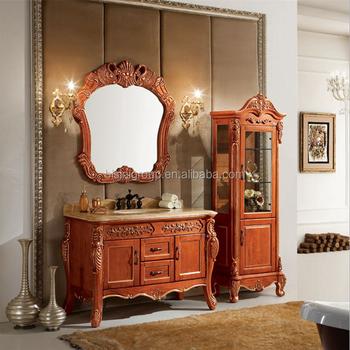 Antico Vanità Bagno In Legno Con Lato Armadio,Intagliato Specchio ...