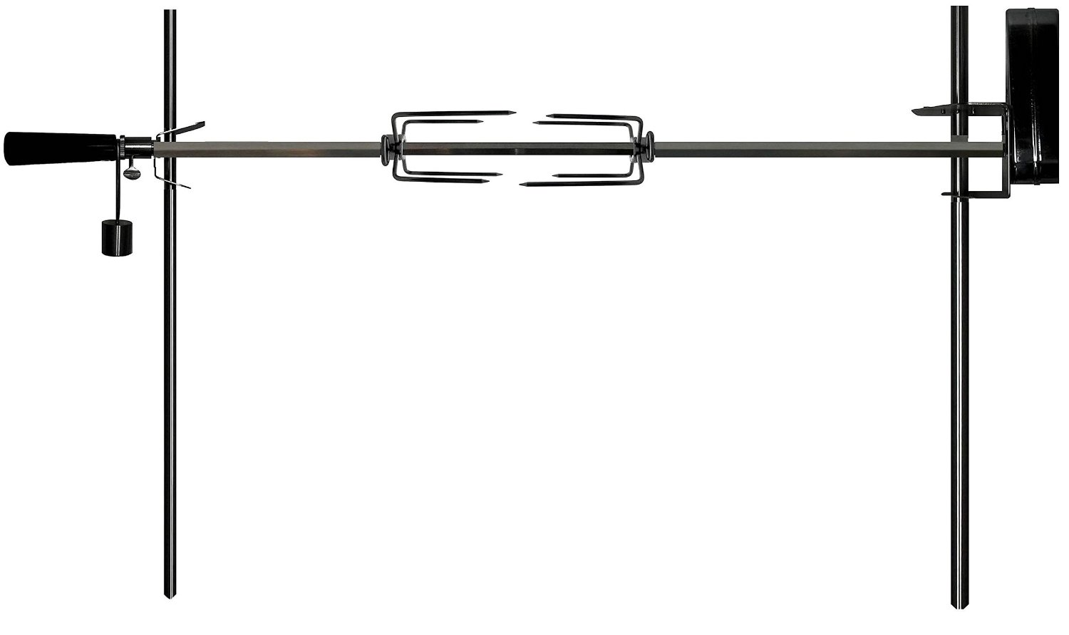 """OneGrill Cordless Dual Post Open Fire Rotisserie System- 53"""" Chrome (Chrome Motor)"""