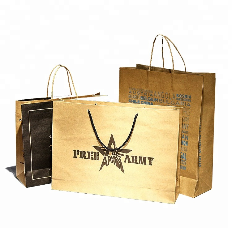 factory wholesale craft kraft paper brown luxury gift shopping paper packaging bags with handle