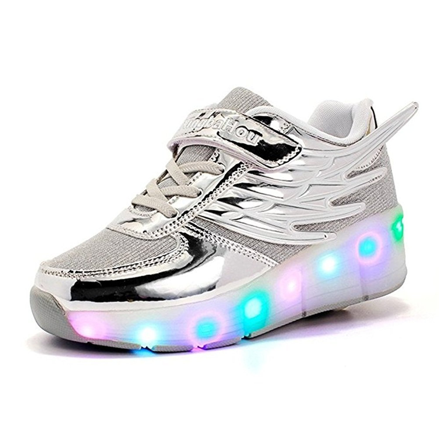 Kid Wings LED Light Up Roller Wheel Shoes Athletic Sneaker Sport Shoes Dance Boot Boy Girl ?silver 5 M US Big Kid?