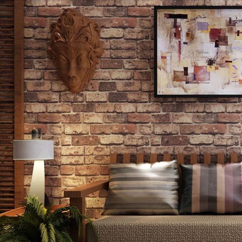 rouge brique pierre papier mur naturel rustique vintage effet 3d concepteur de vinyle papier. Black Bedroom Furniture Sets. Home Design Ideas