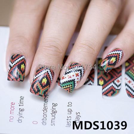 2015 newest 16 pcs strips press fashion fantasy rose mds series 3d wrap nail art polish