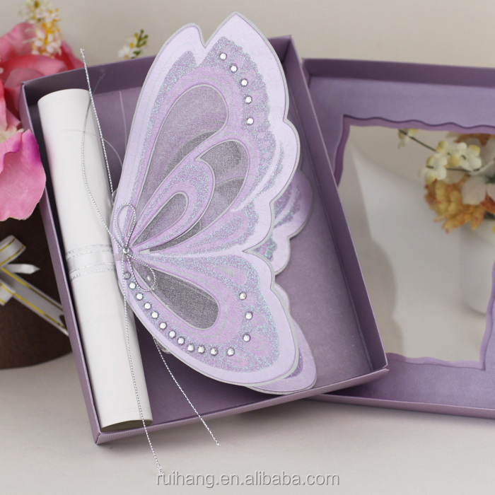 Royal Purple Color Vivid Butterfly Shaped Wedding Invitations ...