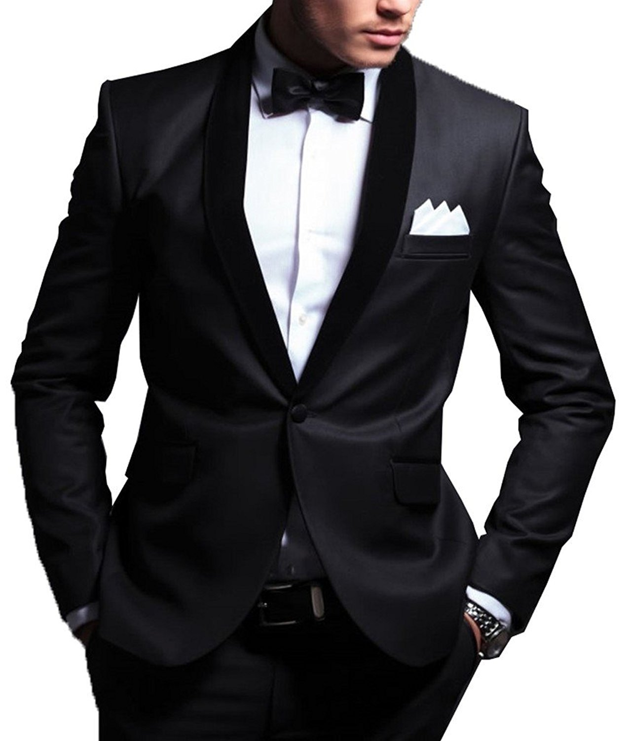 42aa9a2890c0 Get Quotations · GEORGE BRIDE Modern Fit Black Men's Suit 2pc Suit Jacket,  Suit Trousers