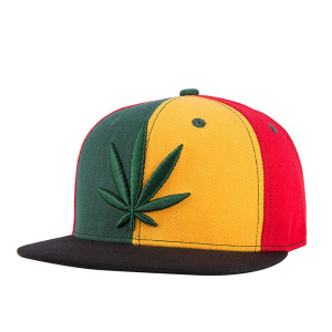 2017 Acrylic two tone Marijuana Leaf weed 3d embroidered snap back caps hat