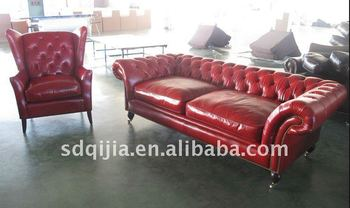 Red Chesterfield Sofa Leather Living Room Furniture Sofa Set