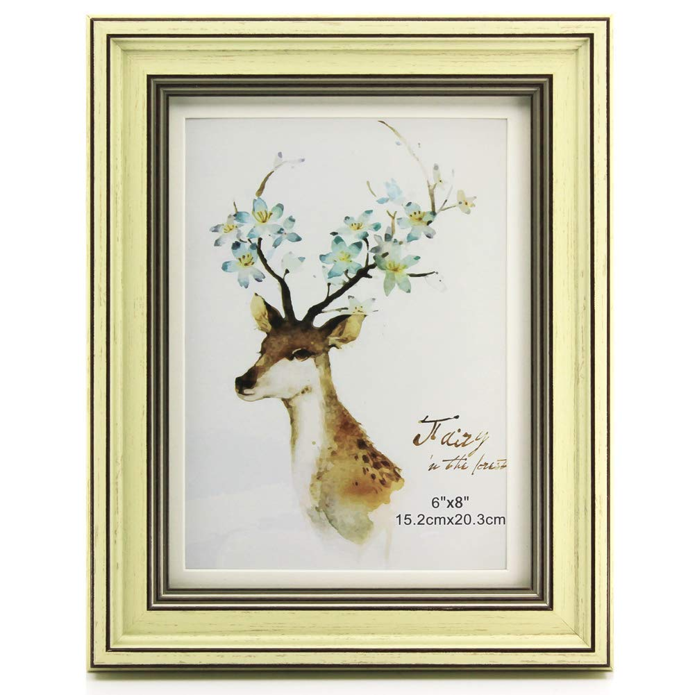Yaetm 6x8 Cream Picture Frame, Hold Photos 5x7 with Mat or 6x8 Without Mat, Wall Mounting or Table Top Display
