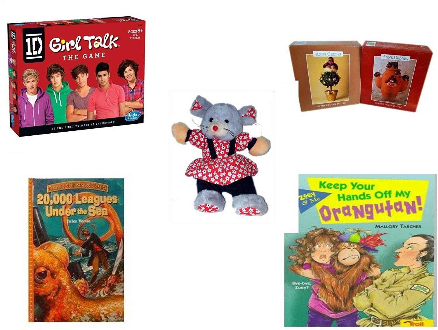 """Girl's Gift Bundle - Ages 6-12 [5 Piece] - 1D Girl Talk The Game One Direction - Set of 2 Anne Geddes 100 Pieces Puzzle No. 1510-10, 1510-12 - Play-By-Play Red Flower Patterned Girl Mouse Plush 11"""""""