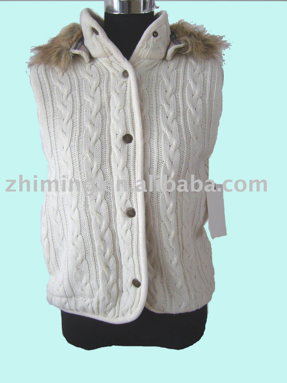 Lady Cable Knit Hoodie Sleeveless Cardigan